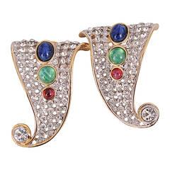Valentino Diamante Earrings, Jewel Tone Cabochon Accents