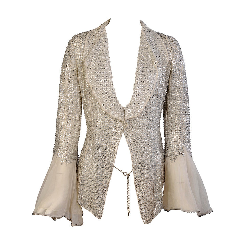 175f340bec9 Ethereal Gianfranco Ferre Silver Beaded Silk Organza Jacket at 1stdibs