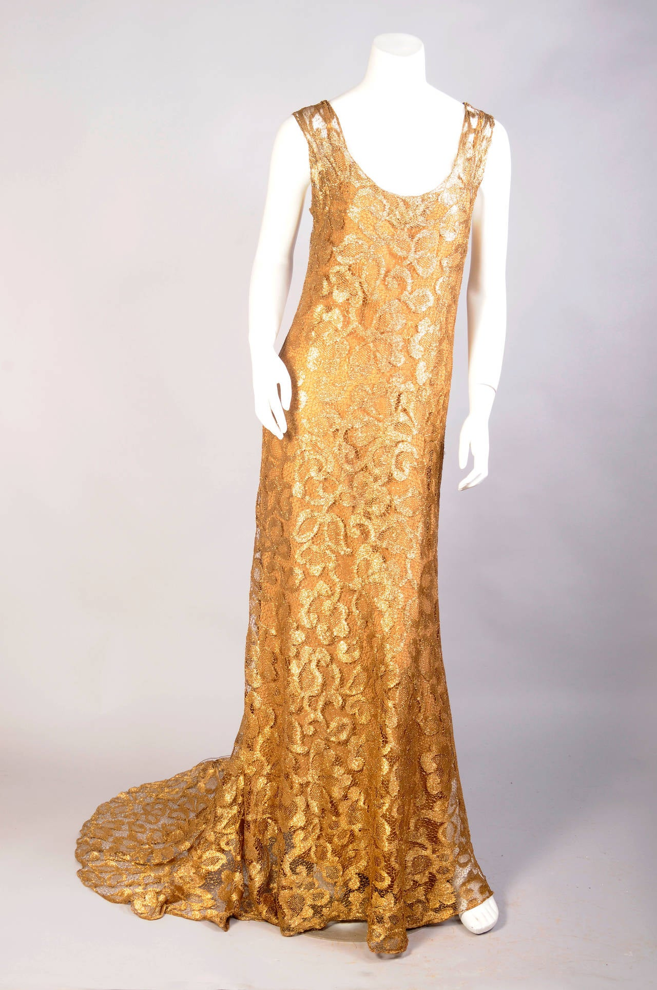 1930's Rare Metallic Gold Lace Gown with Train 4