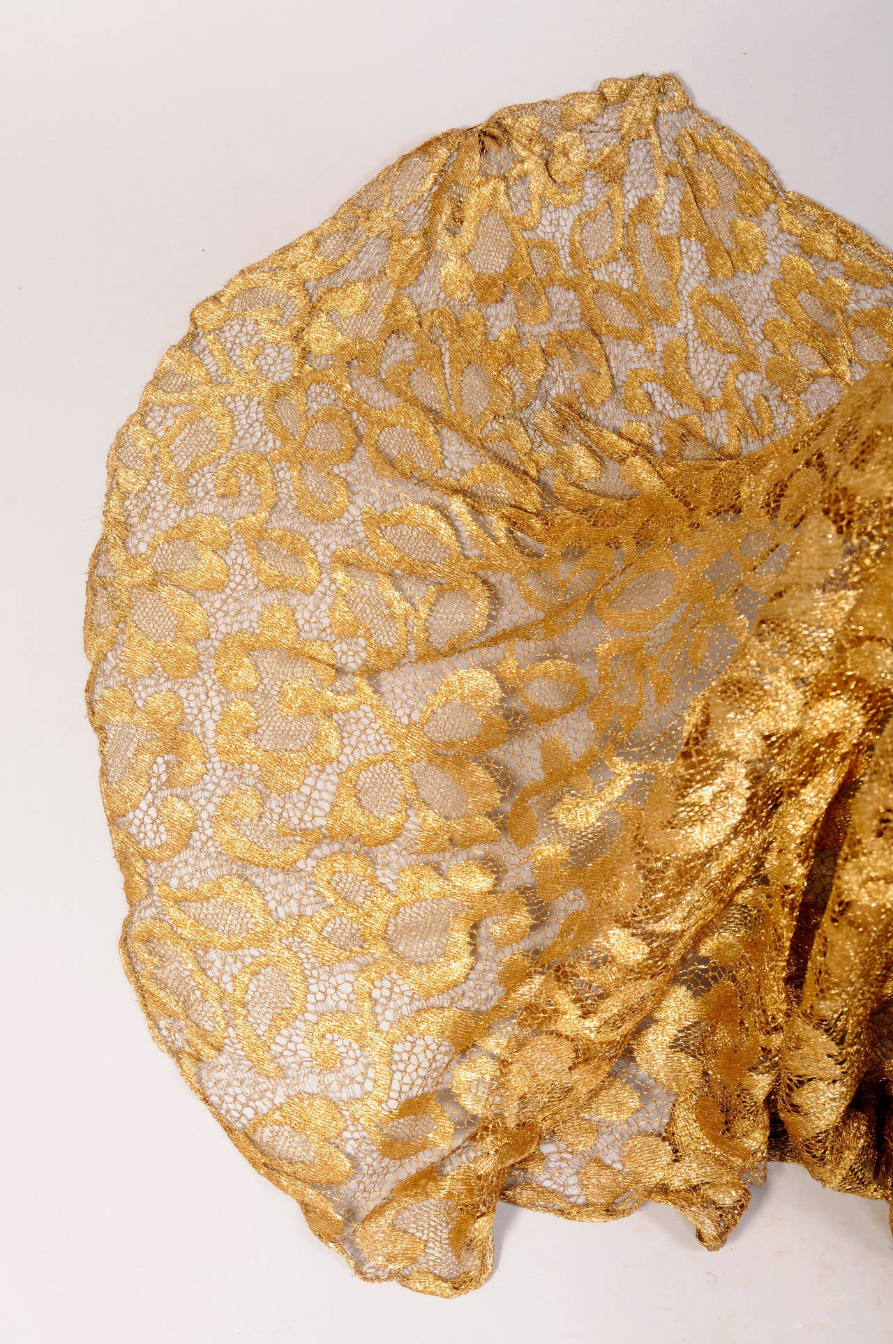 1930's Rare Metallic Gold Lace Gown with Train 5