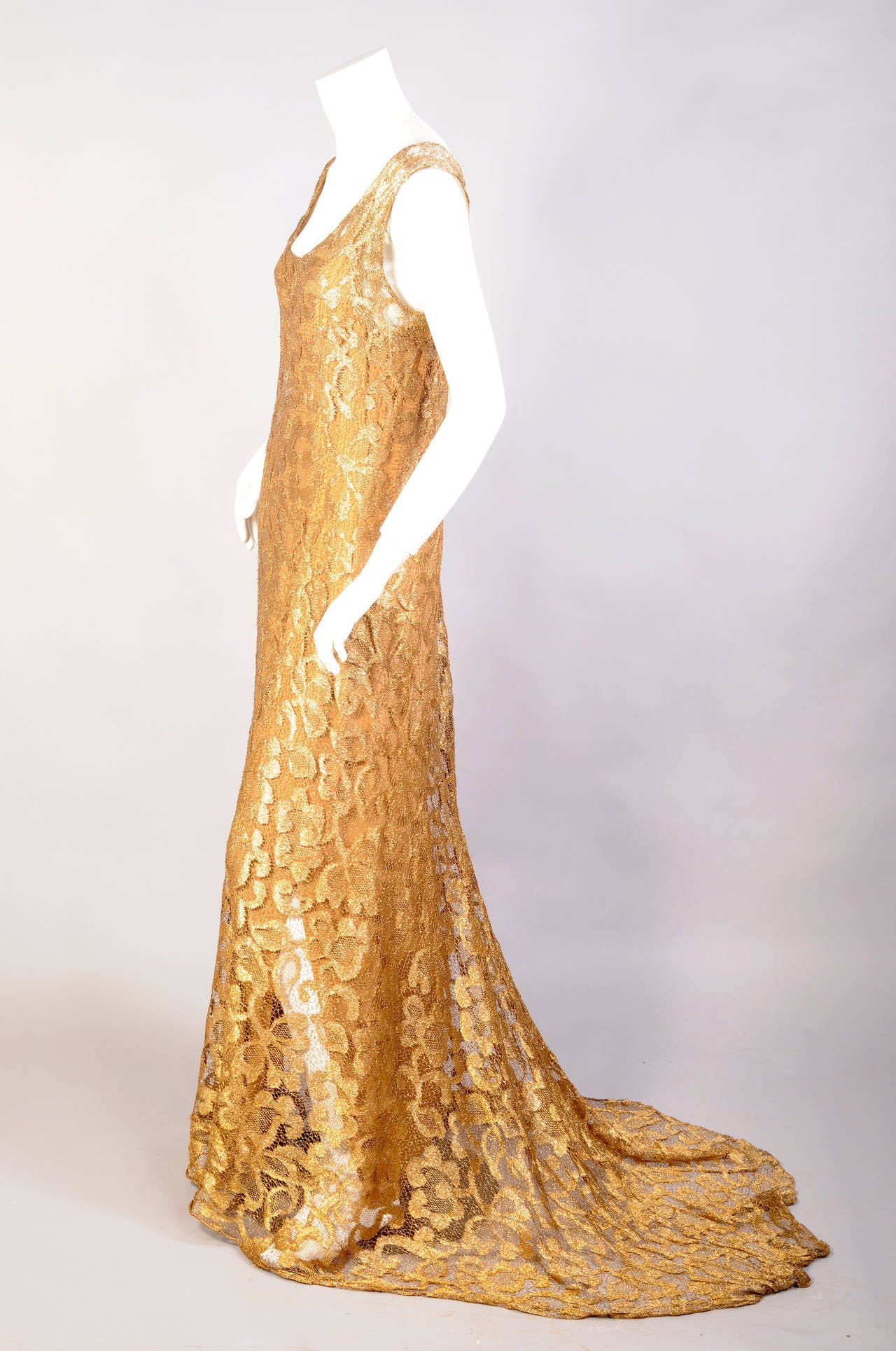 1930's Rare Metallic Gold Lace Gown with Train 2