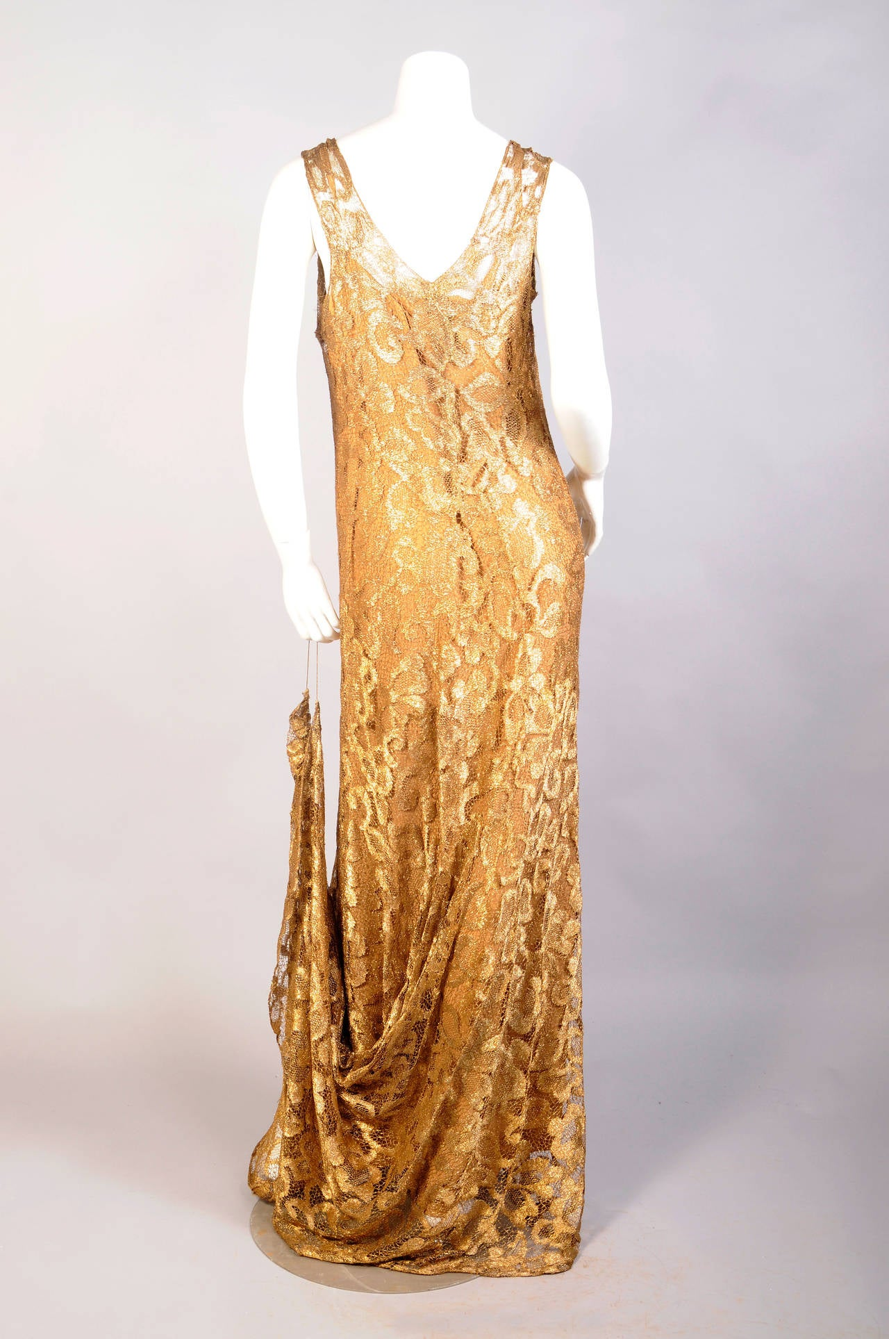 1930's Rare Metallic Gold Lace Gown with Train 3