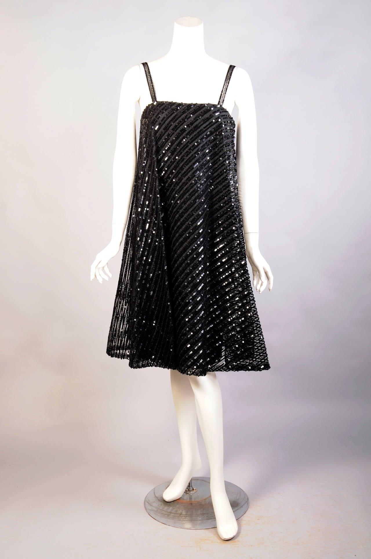 1960 S Bill Blass For Maurice Rentner Beaded Trapeze Dress