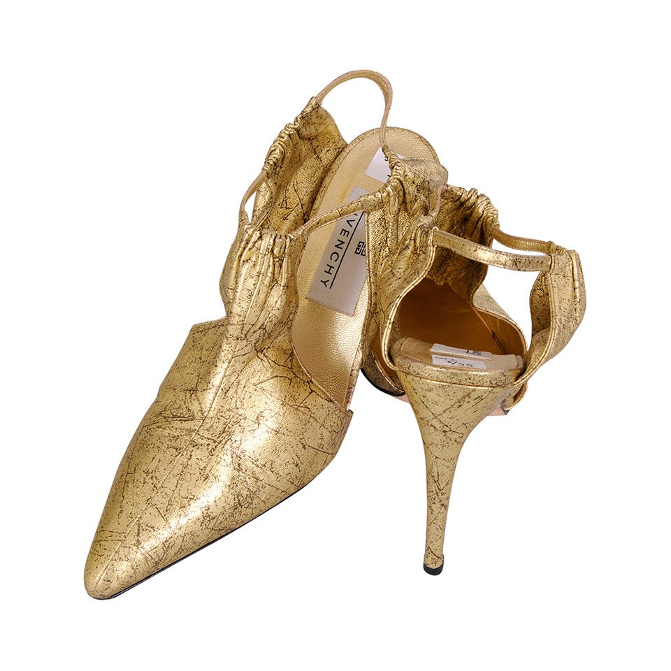 Givenchy haute couture marbelized gold kidskin shoes for Haute couture shoes