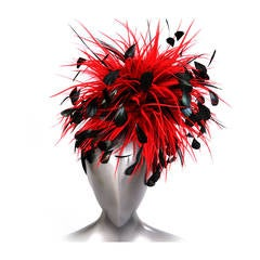 Givenchy Couture Runway Worn Red & Black Feather Headpiece