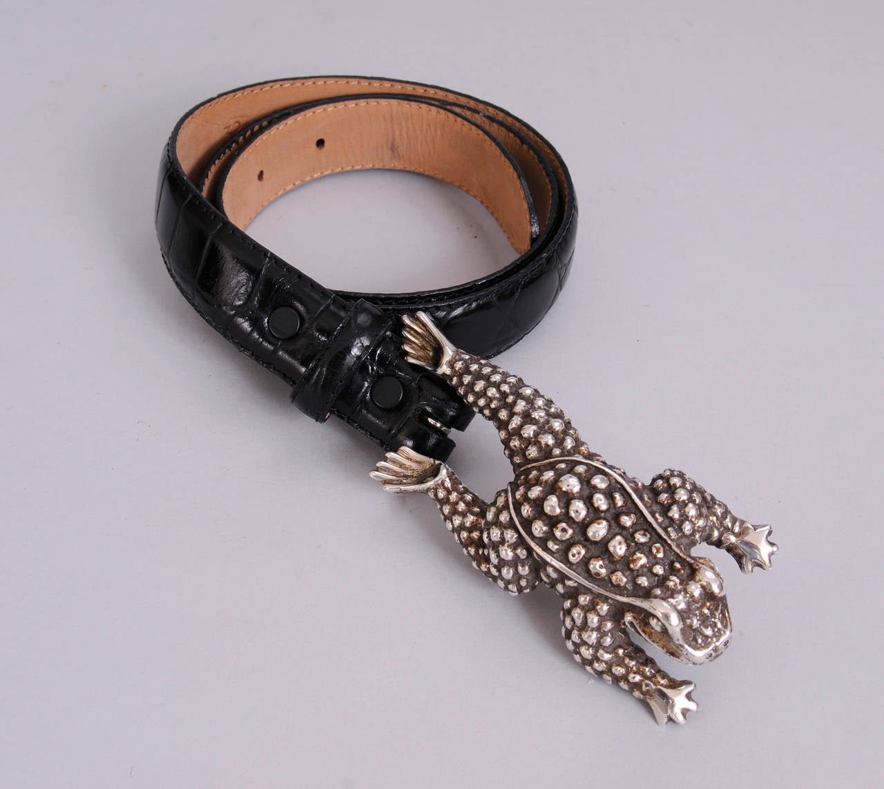 Kieselstein-Cord Sterling Silver Frog Buckle on Black Leather Belt 2