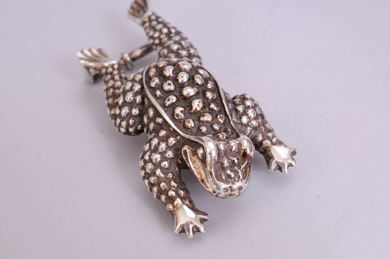 Kieselstein-Cord Sterling Silver Frog Buckle on Black Leather Belt 4
