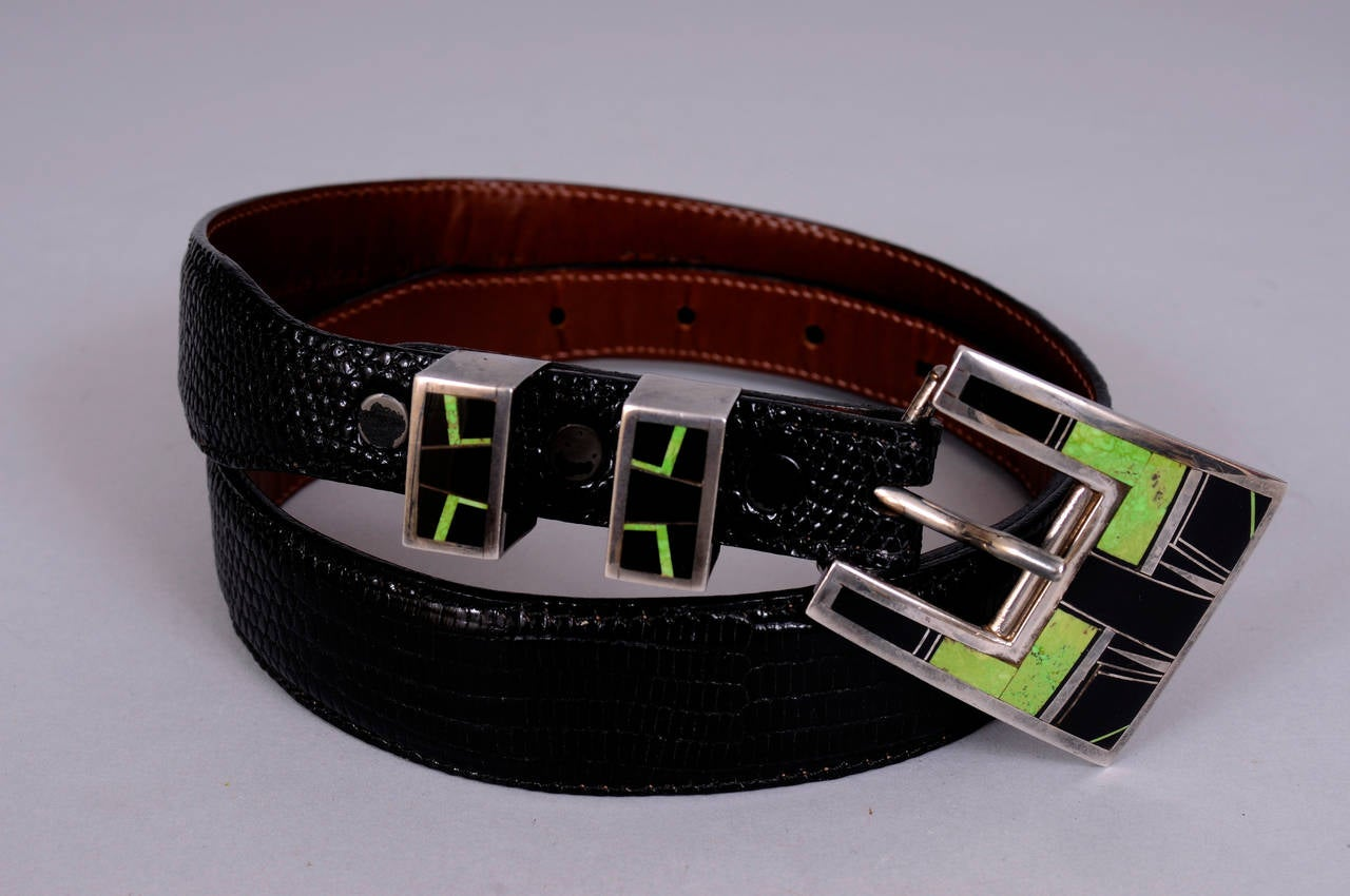 Turquoise and Onyx Inlaid Sterling Silver Buckle Set and Lizard Belt 2
