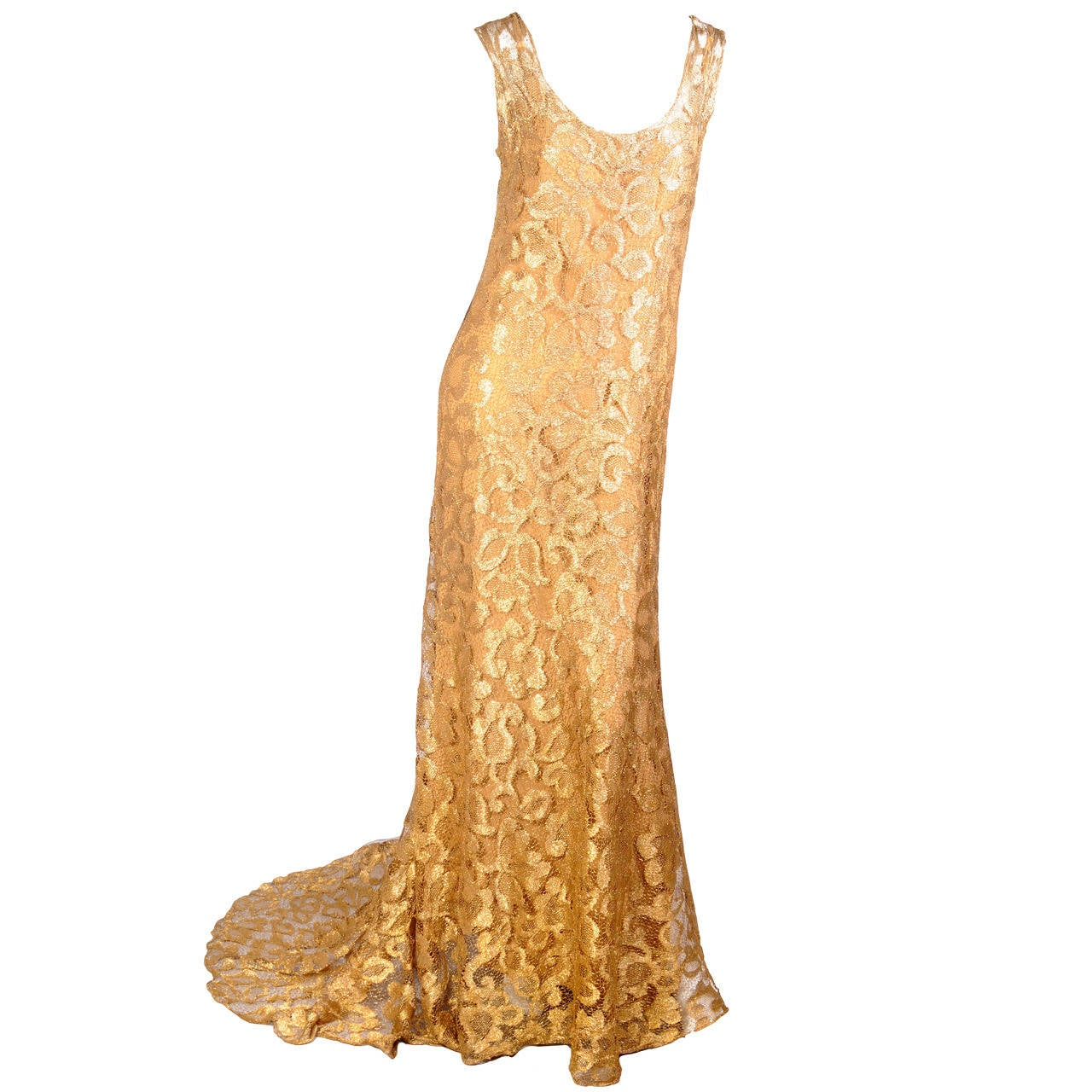 1930's Rare Metallic Gold Lace Gown with Train 1