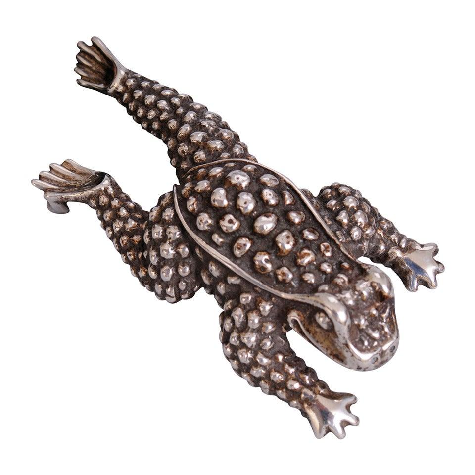 Kieselstein-Cord Sterling Silver Frog Buckle on Black Leather Belt 1