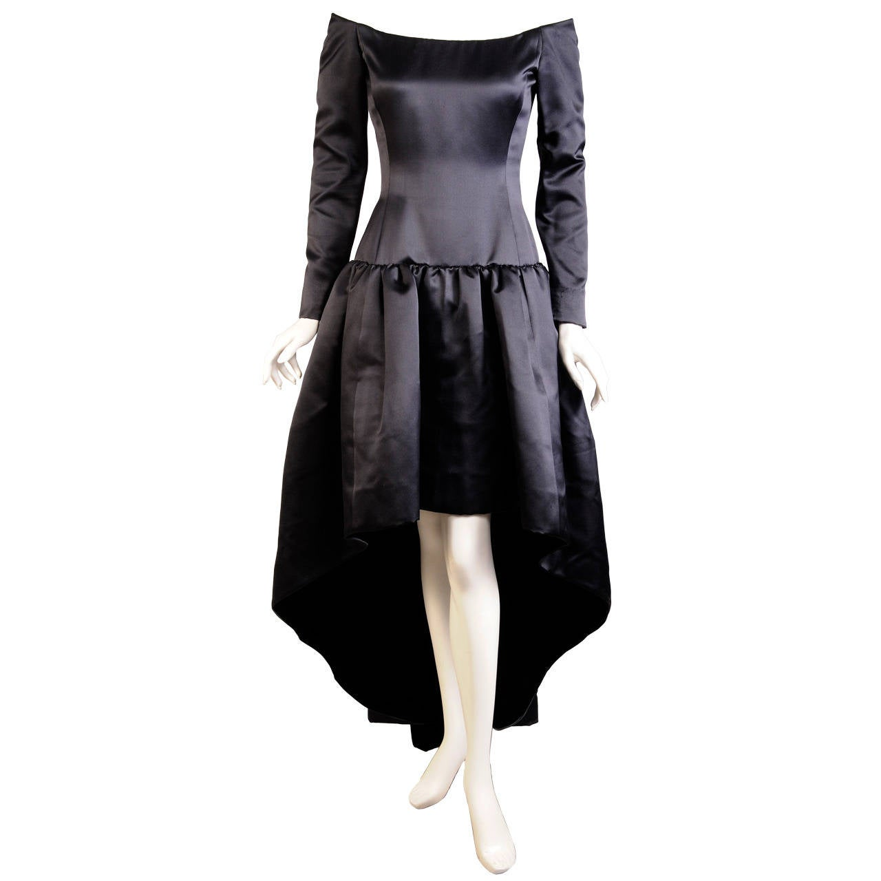 Givenchy haute couture black satin evening dress at 1stdibs for Haute couture dress price