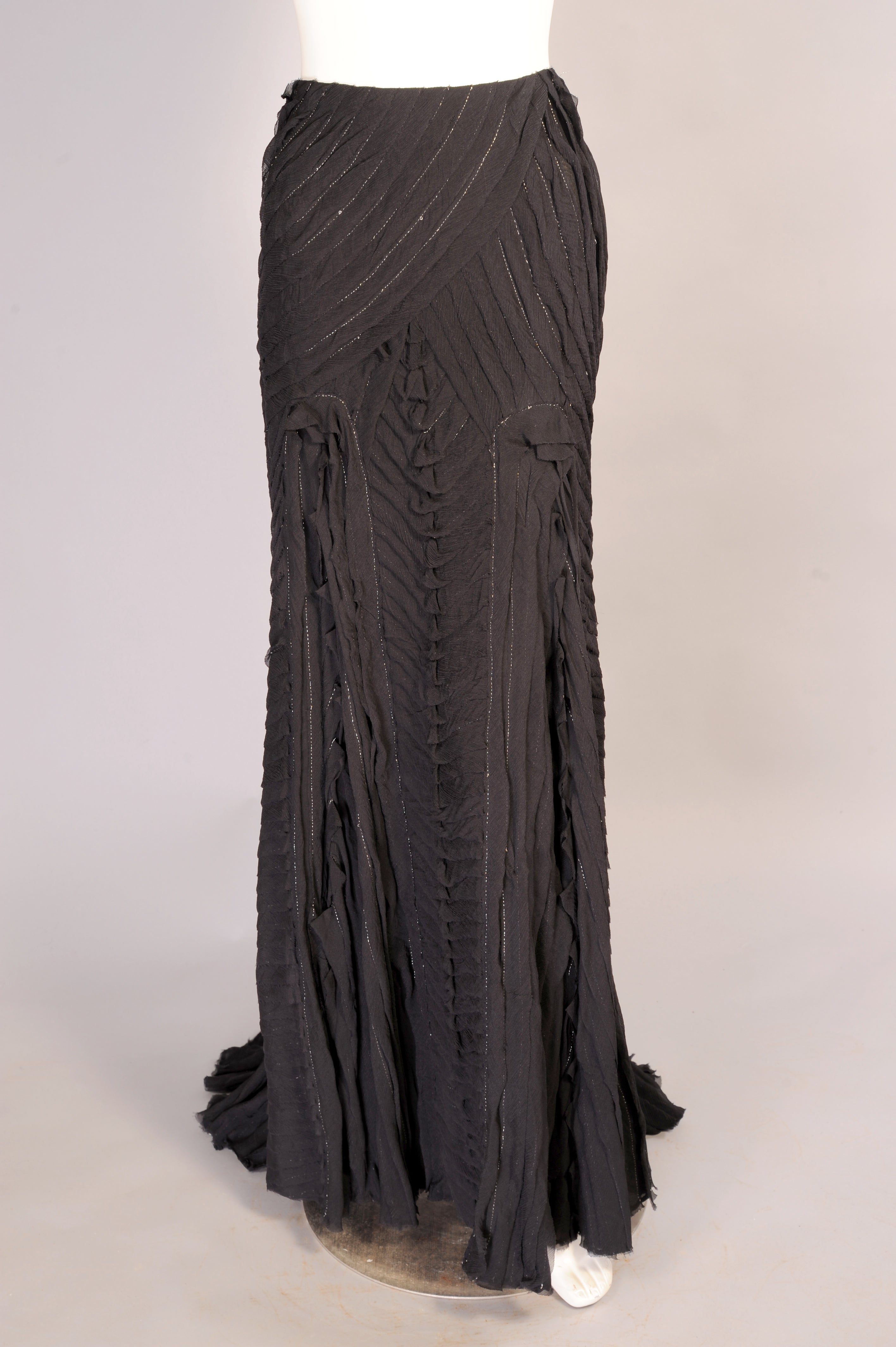 bc5e78aa77 Naeem Khan Tucked Black Silk Chiffon Evening Skirt with Metallic Stitching  For Sale at 1stdibs