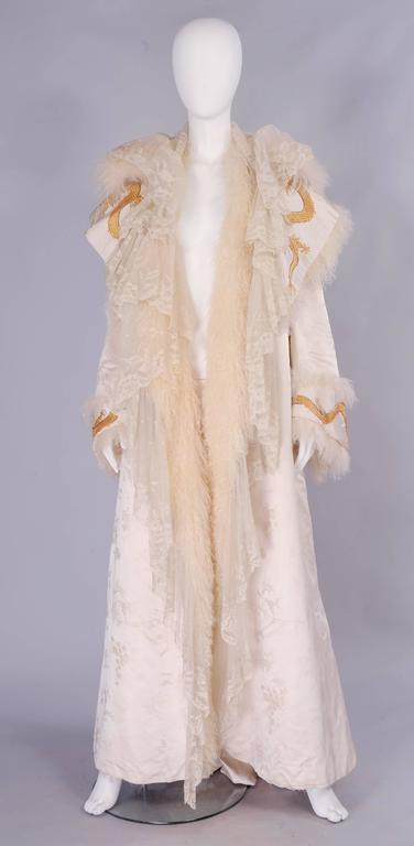 Victorian Gold Dragon Embroidered Silk, Lace and Curly Lamb Evening Coat  2