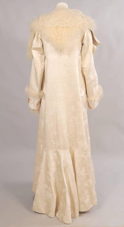 Victorian Gold Dragon Embroidered Silk, Lace and Curly Lamb Evening Coat  3