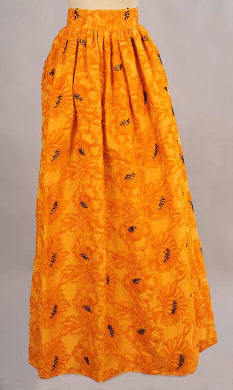 Orange Givenchy Haute Couture Marigold Hand Embroidered and Beaded Silk Evening Skirt For Sale