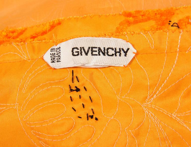 Women's Givenchy Haute Couture Marigold Hand Embroidered and Beaded Silk Evening Skirt For Sale