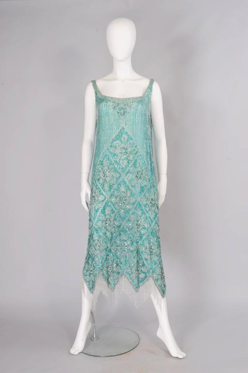 Women's 1920's French Beaded Flapper Dress & Rare Matching Headpiece For Sale