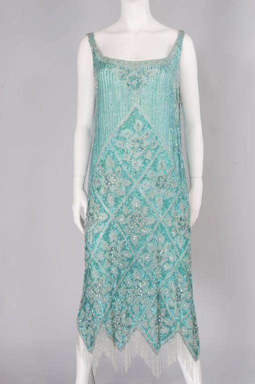 1920's French Beaded Flapper Dress & Rare Matching Headpiece In Excellent Condition For Sale In New Hope, PA