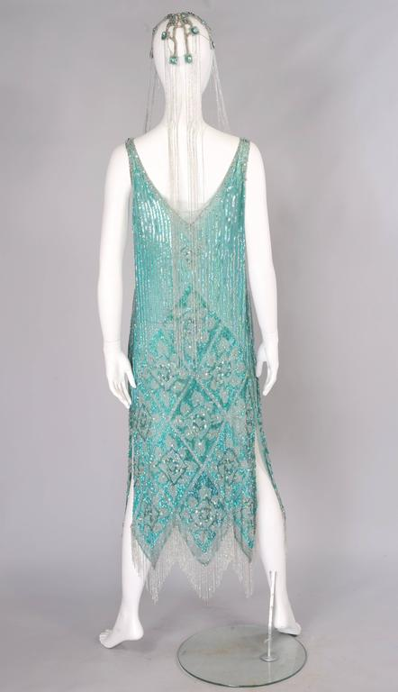 1920's French Beaded Flapper Dress & Rare Matching Headpiece For Sale 3