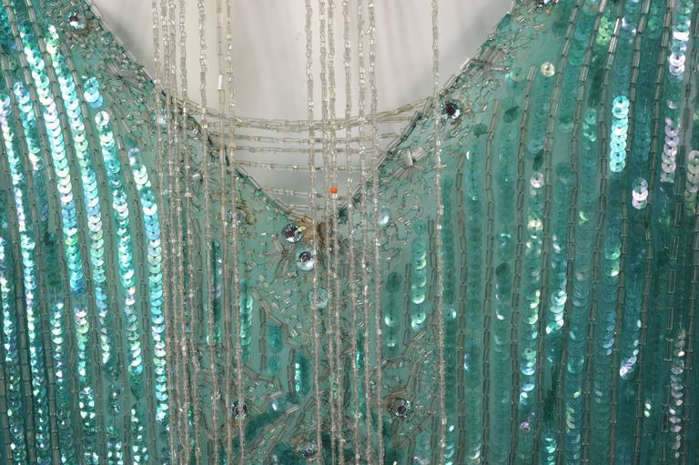 1920's French Beaded Flapper Dress & Rare Matching Headpiece For Sale 4