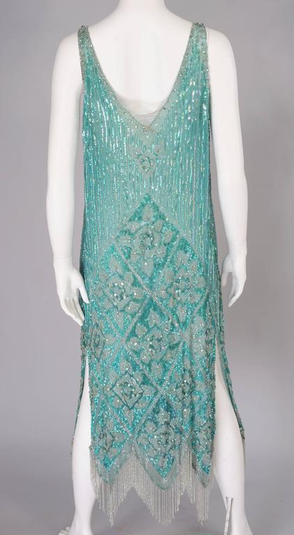 1920's French Beaded Flapper Dress & Rare Matching Headpiece For Sale 5