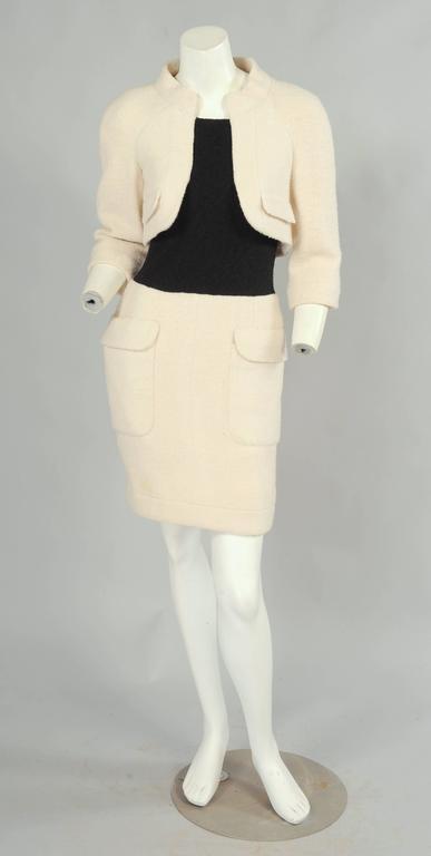 Chanel Haute Couture Cream & Black Trompe l'oeil Dress 2