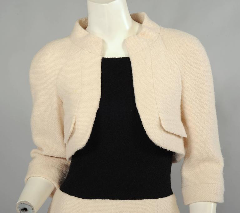 Chanel Haute Couture Cream & Black Trompe l'oeil Dress In Excellent Condition For Sale In New Hope, PA