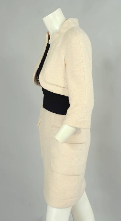 Women's Chanel Haute Couture Cream & Black Trompe l'oeil Dress For Sale