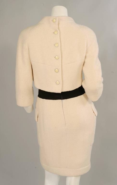 Chanel Haute Couture Cream & Black Trompe l'oeil Dress For Sale 1