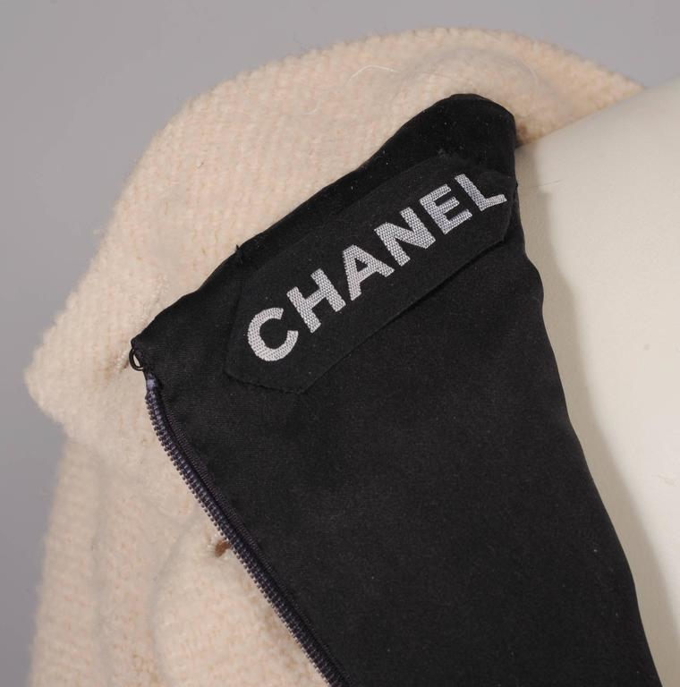Chanel Haute Couture Cream & Black Trompe l'oeil Dress For Sale 3