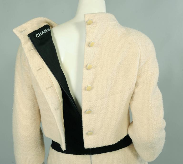 Chanel Haute Couture Cream & Black Trompe l'oeil Dress For Sale 2
