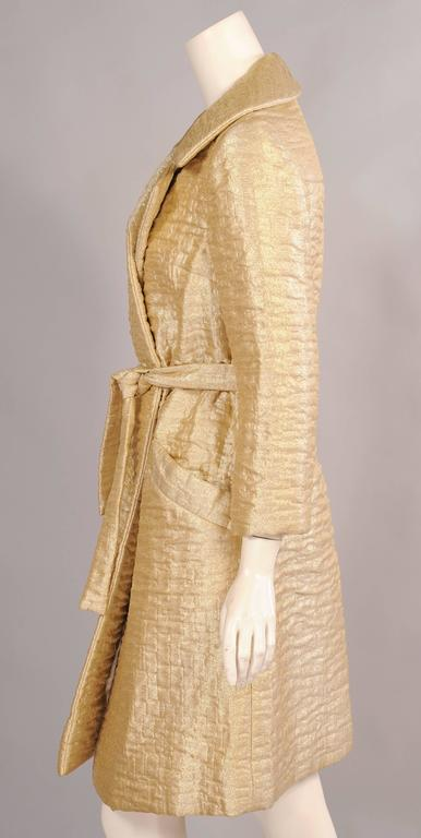 1960's Bonwit Teller Gold Lame Trench Coat In Excellent Condition For Sale In New Hope, PA