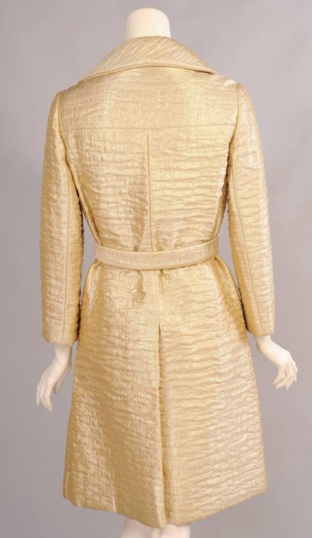 Women's 1960's Bonwit Teller Gold Lame Trench Coat For Sale