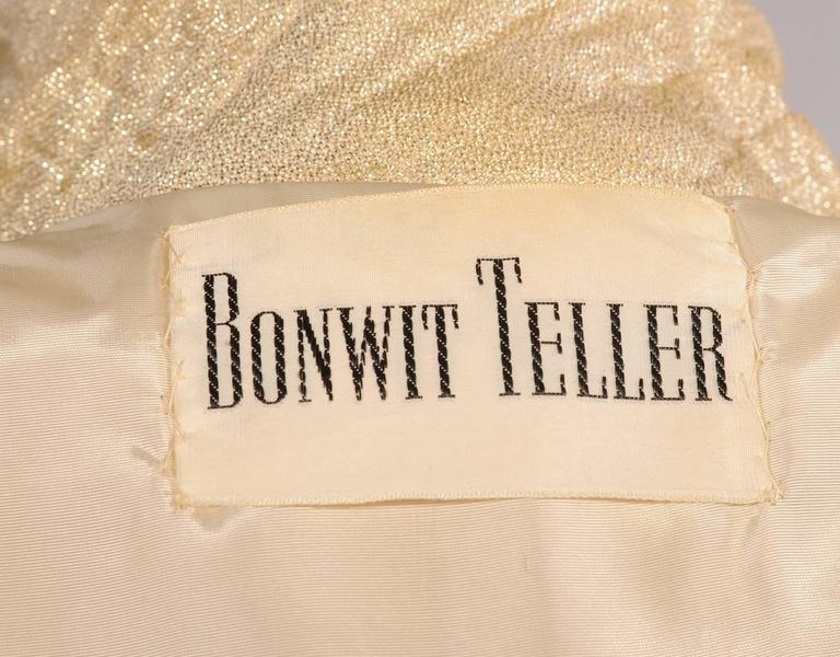 1960's Bonwit Teller Gold Lame Trench Coat For Sale 1