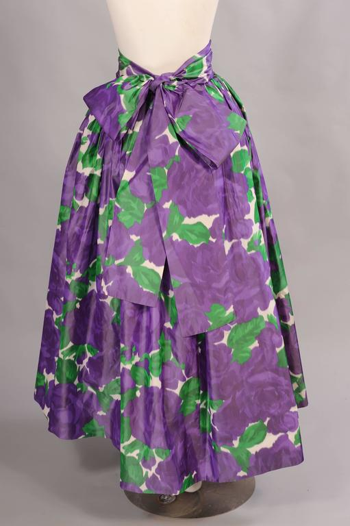 Gray Yves Saint Laurent Couture Silk Taffeta Lavender Cabbage Roses Evening Skirt  For Sale