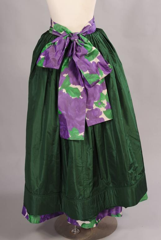 Yves Saint Laurent Couture Silk Taffeta Lavender Cabbage Roses Evening Skirt  In Excellent Condition For Sale In New Hope, PA