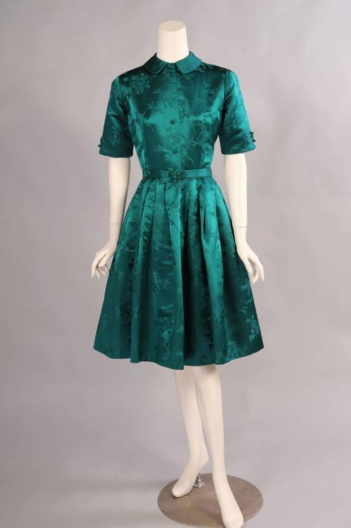 1950 S Saks Fifth Avenue Emerald Green Silk Dress At 1stdibs