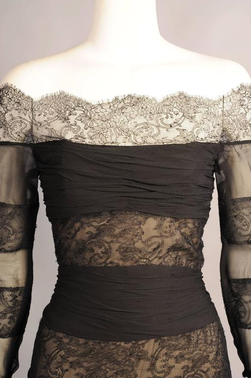 chanel numbered haute couture black lace and silk chiffon