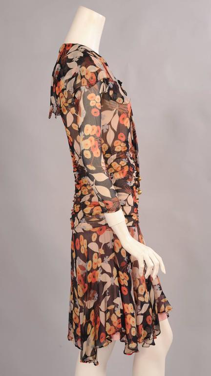 1920 S Floral Print Silk Chiffon Dress At 1stdibs