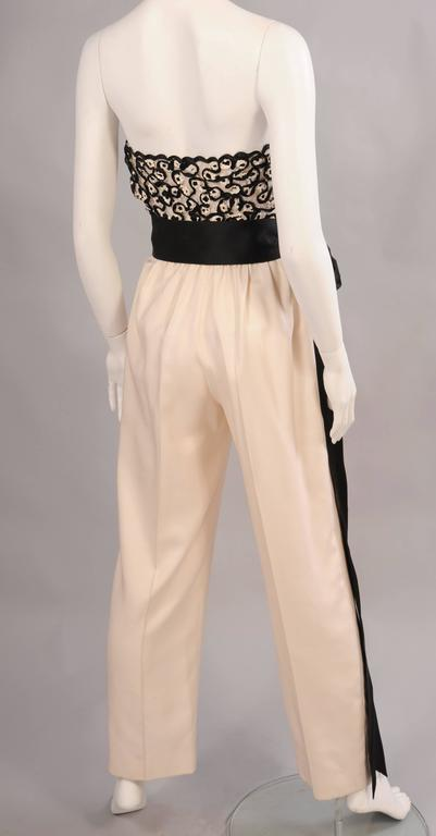 Givenchy Haute Couture Beaded, Strapless Jumpsuit with Jacket In Excellent Condition For Sale In New Hope, PA