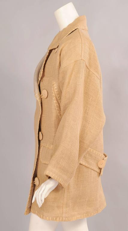 Beige Jean Charles de Castelbajac Linen Jacket with Bamboo Buttons For Sale