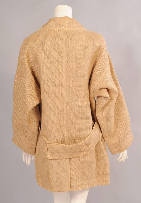 Jean Charles de Castelbajac Linen Jacket with Bamboo Buttons In Excellent Condition For Sale In New Hope, PA