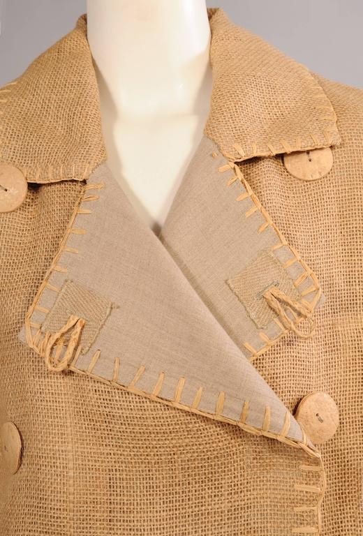 Women's or Men's Jean Charles de Castelbajac Linen Jacket with Bamboo Buttons For Sale