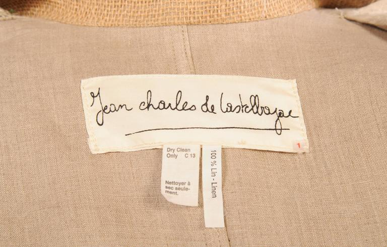 Jean Charles de Castelbajac Linen Jacket with Bamboo Buttons For Sale 1