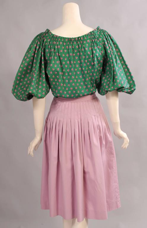 Women's Yves Saint Laurent Russian Collection Cotton Blouse and Skirt, 1970s For Sale