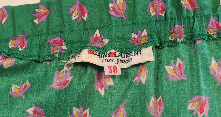 Yves Saint Laurent Russian Collection Cotton Blouse and Skirt, 1970s For Sale 1