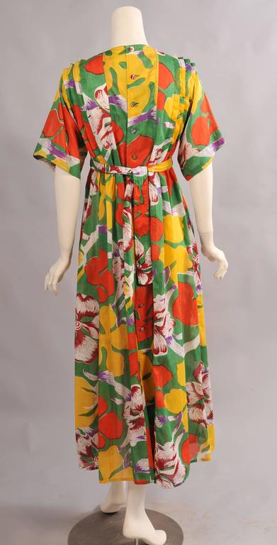 Brown Jean Muir 1970's Colorful Tropical Print Dress For Sale