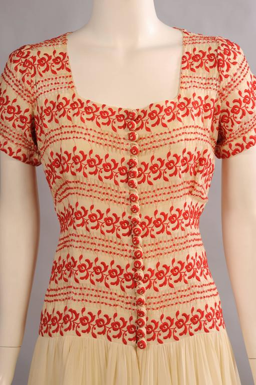 1930's Vintage Red and Cream Embroidered Dress 5