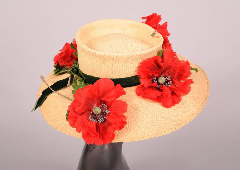 Vintage Saks Fifth Avenue Natural Straw Hat with Silk Poppies 2