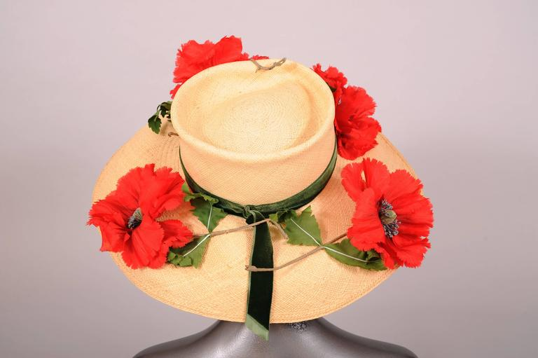 Vintage Saks Fifth Avenue Natural Straw Hat with Silk Poppies 3